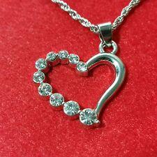 "Silver Tone Heart Pendant Necklace A37 White Diamond simulant 18"" Rope Chain"