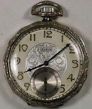 1927 Elgin Pocket Watch Grade 615 Rolled White Gold 15 Jewels Wind Up Fancy Dial