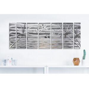 Image Is Loading Silver Tropical Metal Wall Art Panels Modern Beach