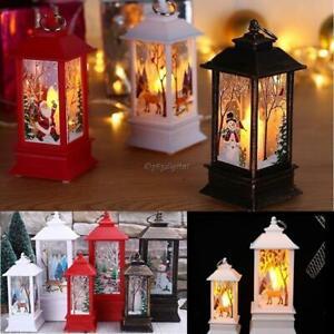 Natale-Babbo-Natale-Pupazzo-di-Neve-Cervo-Castello-Lampada-Luce-Lanterna-Da-Appendere-Ornamento