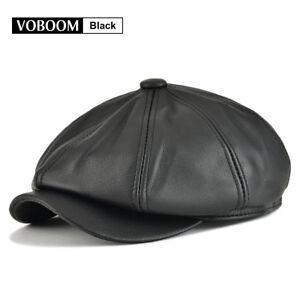 Details about 100% Genuine Leather Newsboy Cap Mens Gatsby Cap Ascot Flat  Hat Cabbie Black LXL 51ca9a364b0