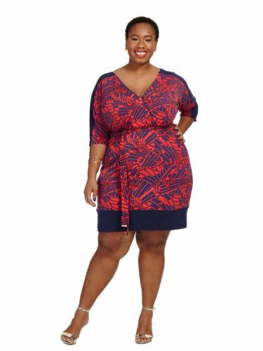 Sangria Palm Print Blouson Dress Sz 24W