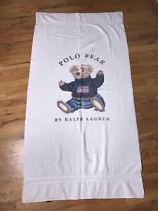 Details About Vintage Polo Bear Beach Towel Ralph Lauren American Flag Sit Down Spell Out Usa