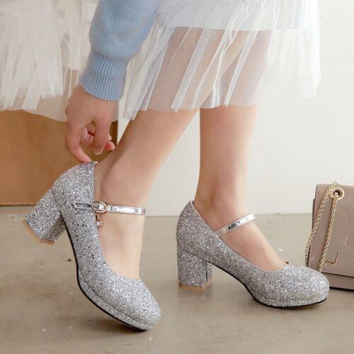Sequins Glitter Womens Pumps Shoes Rhinestone Buckle Strap Platform Heels Shoes