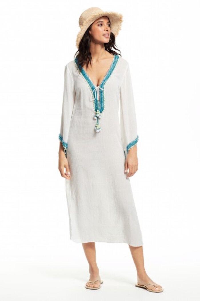 CALYPSO ST. BARTH Bahdra Sheer Embroidered Caftan Swim Cover Up Midi Dress White