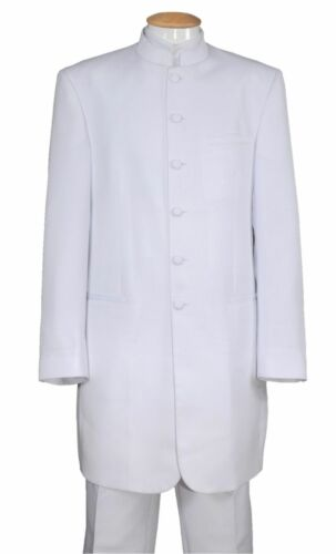 Men/'s Banded//Mandarin Collar Suit,Zoot// Long Coat 6-Button Solid 6905