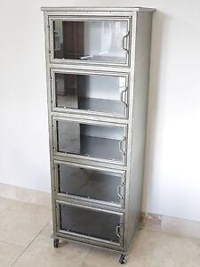Image Is Loading 5 Glass Doors Metal Industrial Display Cabinet On
