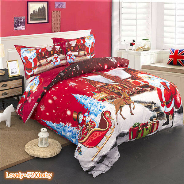 Christmas Duvet Covers Snow Night Bedding Sets Queen King Size Santa Claus Print