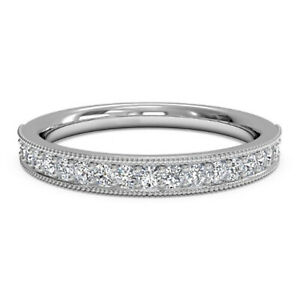 0.30 Ct Round Cut Moissanite Eternity Band 14K White Gold Engagement Ring Size 7
