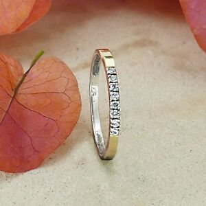 Stackable-Two-Tone-9k-Yellow-Gold-Silver-0-64Ct-Cubic-Zirconia-Stone-Ring-Size