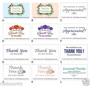 100 custom personalised business thank you cards for customer client