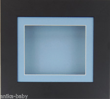Small Black Deep Box Display frame Medals 3D 2D Objects Art Baby Boy Casts Blue
