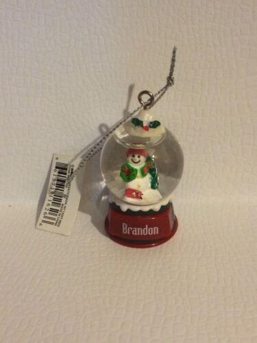 BRANDON Ganz Glass Snowman Snowglobe Ornament Great Stocking Stuffer or Gift
