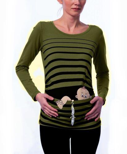 Umstandsmode Schwangerschaftsmode Süße Sweatshirt mit Motiv Geschenk Khaki BV17