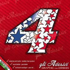 Adesivo Stickers NUMERO 4 moto auto cross gara STAR Blu & Rosso