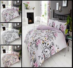 Disenador-Eden-Flores-con-Estampado-Floral-Reversible-Cubierta-Del-Edredon-Edredon-Juego-De-Cama-GC