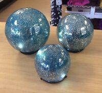 Valerie Parr Hill Set Of 3 Lit Color Within Mercury Glass Spheres - Pick Color