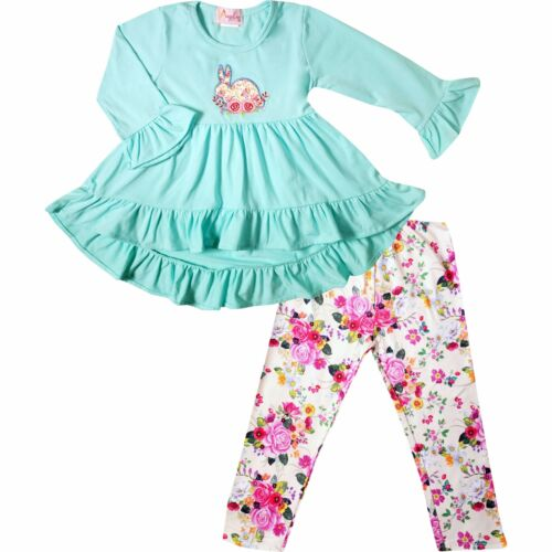 Baby Toddler Little Girls Spring Easter Bunny Hi-Low Tunic Legging Scarf Out Set