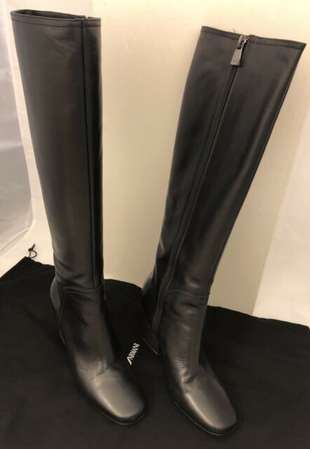 bb4bd4af Emporio Armani Women's Black Leather Knee High BOOTS 37 EU It X30135