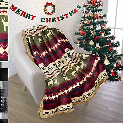 Holiday Premium Plush Sherpa Throw Christmas Blanket By