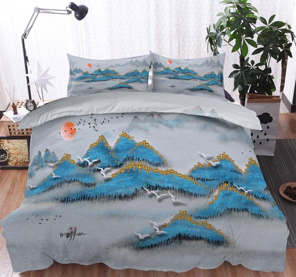 Blau Hill Bird 3D Printing Duvet Quilt Doona Covers Pillow Case Bedding Sets