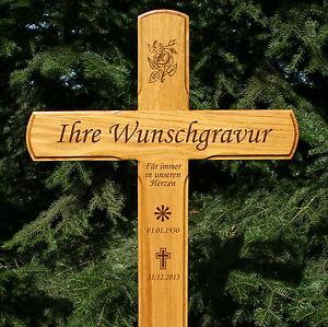 Grabkreuz Holzkreuz Übergangskreuz massiv Eiche 130x54cm mit Gravur Beschriftung