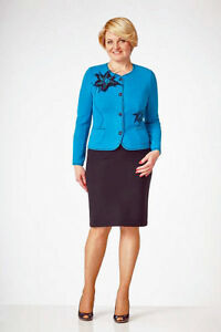 BLACK SKIRT SUIT PARTY WORK European Lined Pencil Skirt Dotted Button Blazer