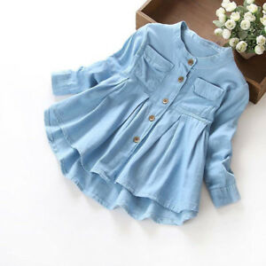 Toddler-Kid-Baby-Girls-Denim-Ruched-T-Shirt-Tops-Blouse-Dress-Casual-Clothing-jy