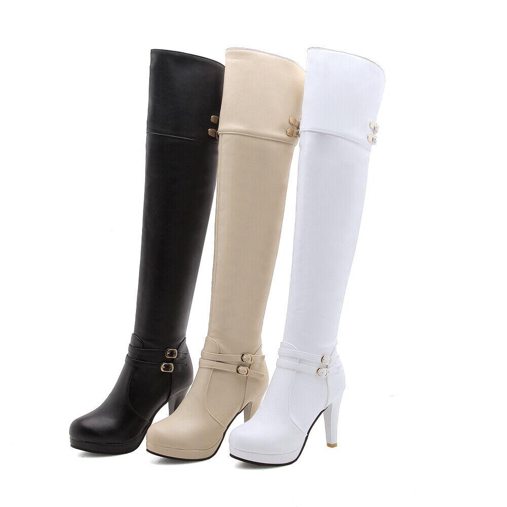 Fashion Damenstiefel Overknee Pumps Stilettos Platform Gr.46 47 48 Reißverschluß