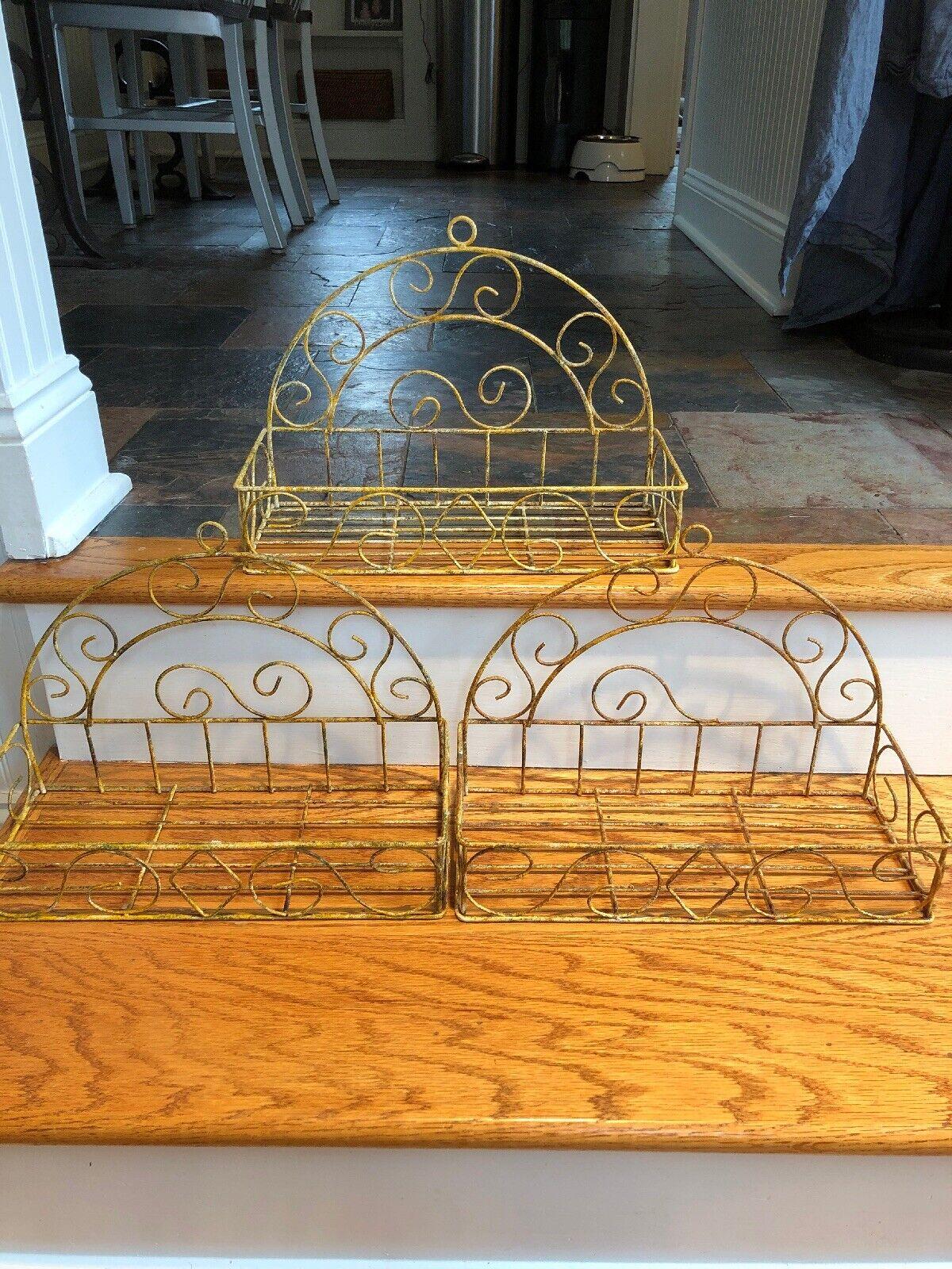 S 3 Vintage Shabby French Metal Wire Wall Shelf Baskets