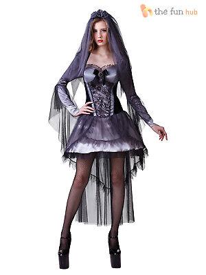 51abe84560f Ladies Corpse Bride Costume Zombie Ghost Halloween Fancy Dress Womens 10 12  14 5051090017619 | eBay