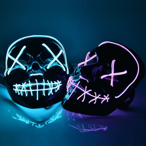 """GB Halloween Rave Cosplay Party Decor Light Up Mask /""""Smiling Stitched/"""" El Wire"""