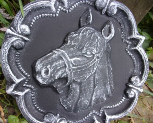 "Horse plaque mold concrete plaster resin casting mould 11/"" x 1.25/"" thick"