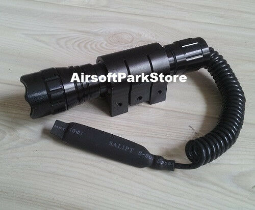 Tactical LED Flashlight Torch + Remote Pressure Switch + 20mm Rail Mount