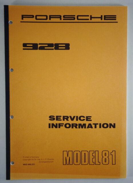 Workshop Manual  Service Information Porsche 928 Model 1981