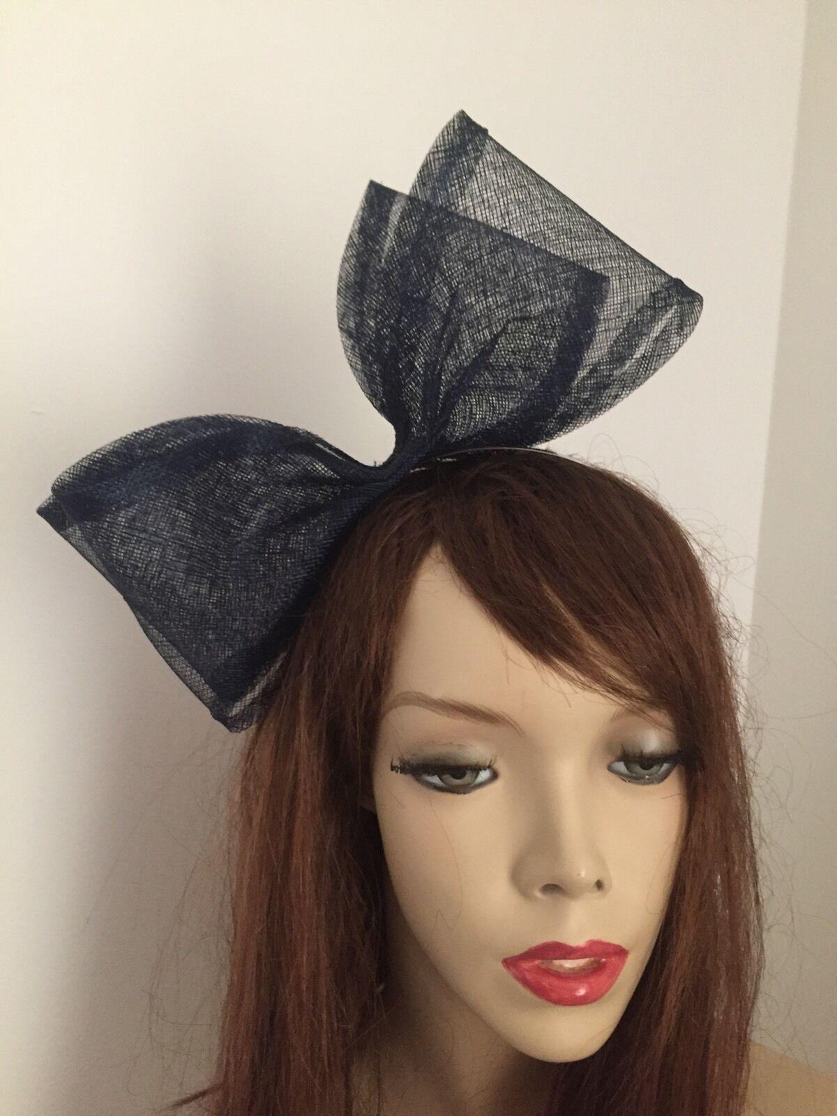 Fascinator NEW Navy Blue Big Bow Hatinator Hat Wedding Races Formal Ladies Large