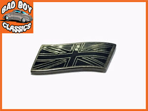 Chrome Union Jack Metal Sticky Enamel Badge Emblem Classic Car 38mm Black