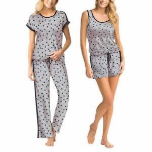 Lucky Brand Womens Pajama Set Gray Grey Stars 4 Piece Pj S Soft Stretch Ebay