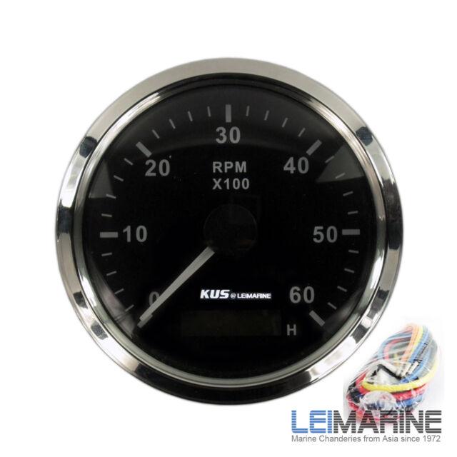 KUS Stainless Steel Bezel Boat Tachometer & Hourmeter 6000 RPM  12V/24V Marine