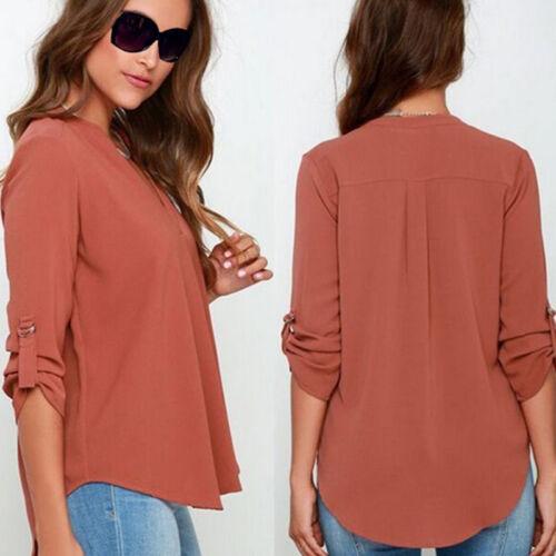 Damen V-Ausschnitt Chiffon 3//4 Ärmel Bluse T-Shirt Oberteile Tops Hemd Tee DE