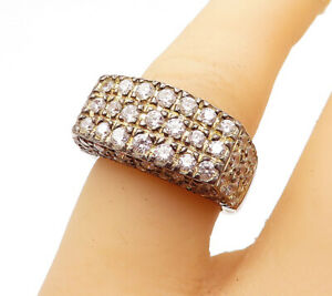 925-Sterling-Silver-Vintage-Cubic-Zirconia-Square-Dome-Band-Ring-Sz-6-R14314