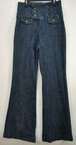 Womens-Lip-Stick-Junior-Bell-Bottom-Flare-Blue-Denim-Jeans-Size-9-29-x-34