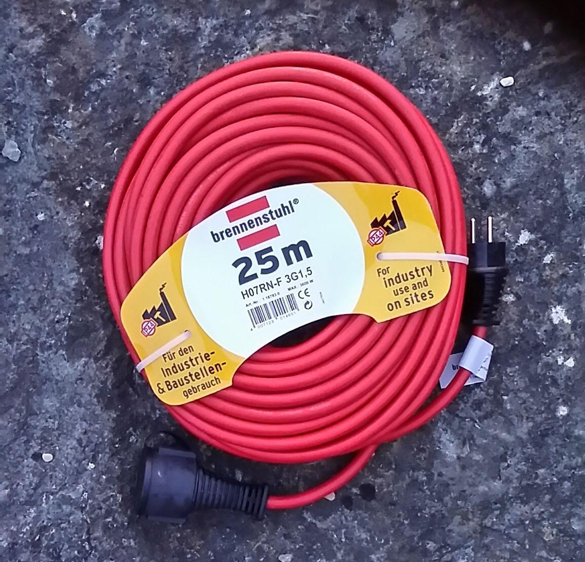 Brennenstuhl Verlängerungskabel IP44 25 Meter H07RN-F 3G1,5 rot   Kabel   Neu   Ausgezeichnet (in) Qualität