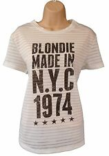 Blondie T Shirt Punk Womens Ladies Official Licensed White Top Size 12