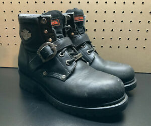 Harley Davidson 81024 Faded Glory Women's Black Leather Buckle Boots Size 8