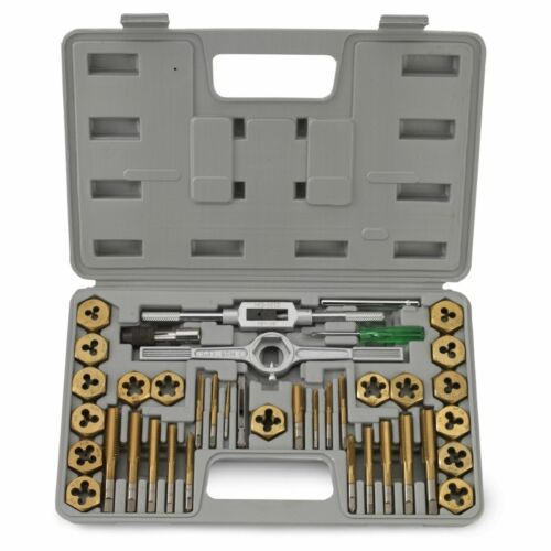 40 PC PIECE TITANIUM STANDARD SAE SIZE INCH STEEL TAP /& AND DIE TOOL SET KIT