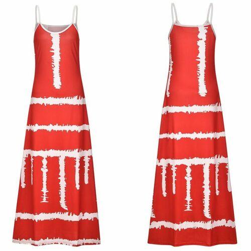 Hot Plus Size Womens Sleeveless Strappy Boho Summer Holiday Maxi Dress S-5XL