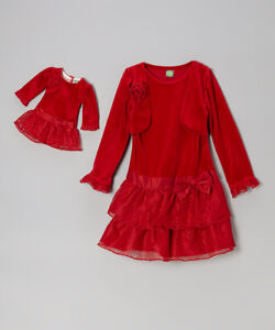 image is loading girl 7 10 and doll matching velour fancy