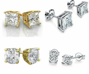Stud-Earrings-Cz-Silver-Round-Gold-Sterling-Cut-Cubic-Zirconia-925-Clear-CZ-Stud
