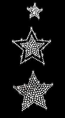 STRASSSTEINE STERN BÜGELBILD HOTFIX APPLIKATION STERNE STAR groß klar weiß